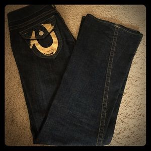 True Religion Gold Foil logo Flare Jean